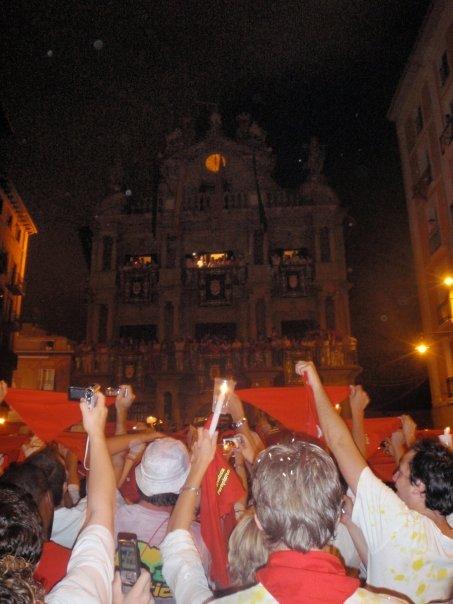 San Fermín Closing ceremony at Plaza Consistorial