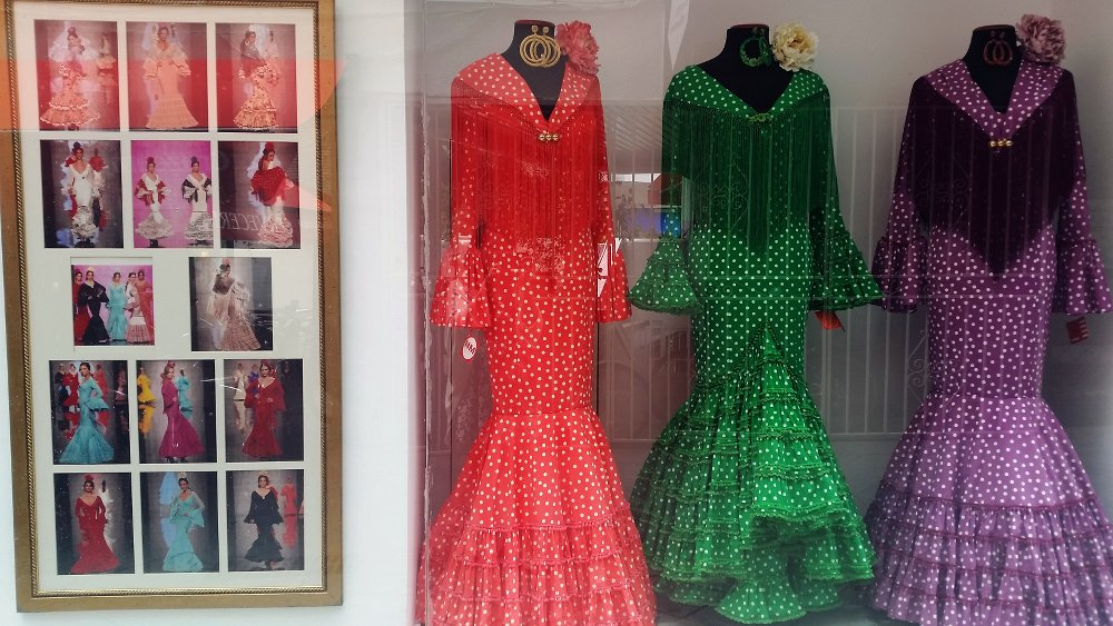 Designer feria dresses can be found in many stores in Sevilla