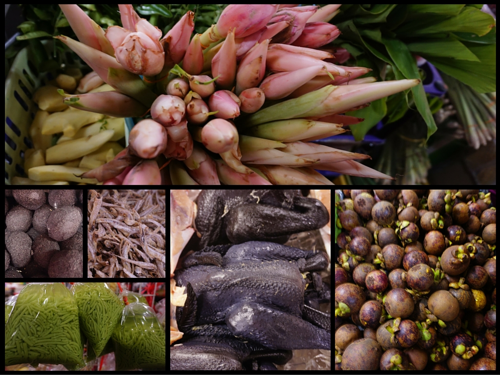 Some of the common ingredients found at a Malaysian food market