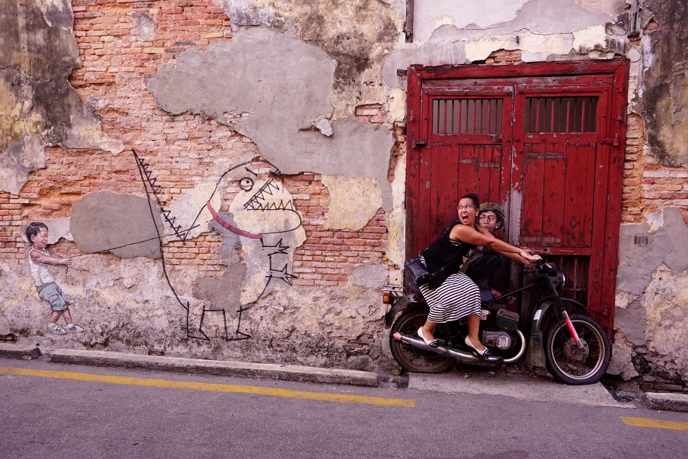 'Little Boy with Pet Dinosaur' & 'Boy on Bike' - Ernest Zacharevic