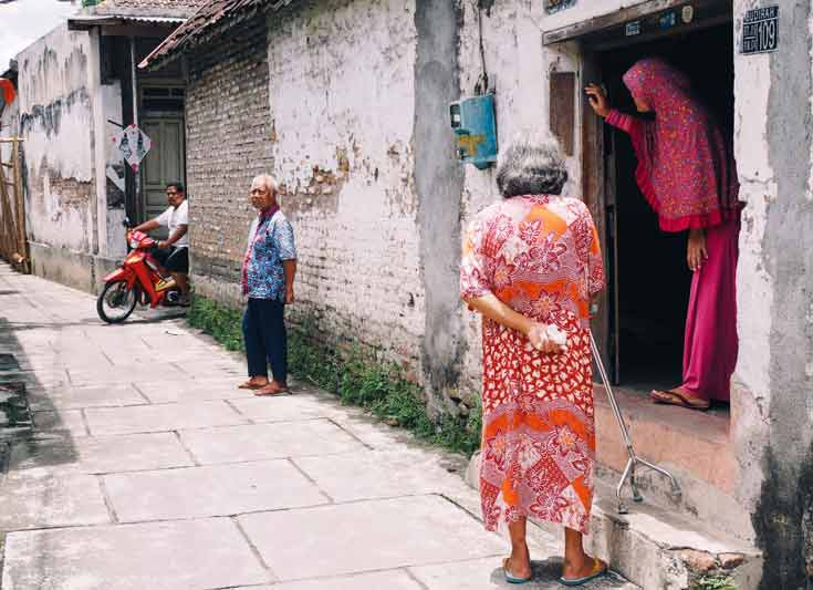 Locals wearing batik in Yogyakarta