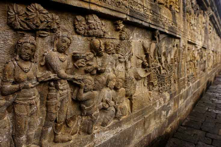 The carvings of Borobudur, Yogyakarta