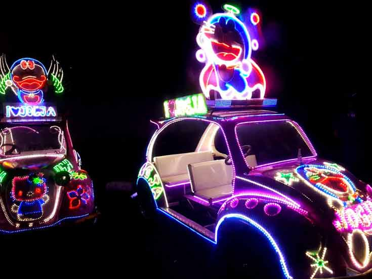The neon beetles in Yogyakarta are hard to miss