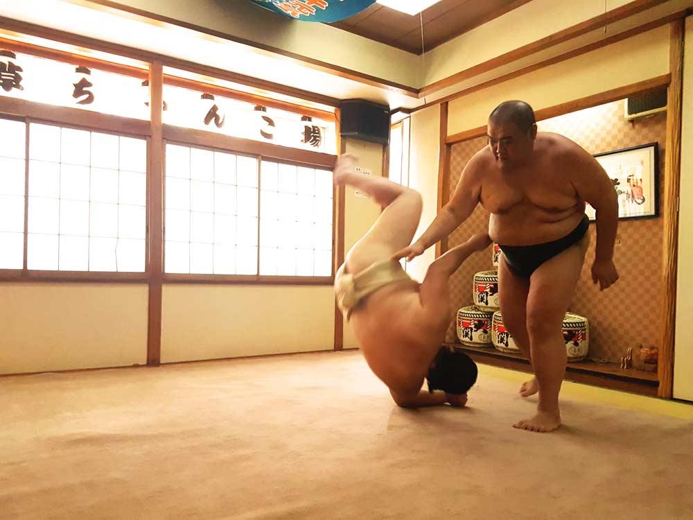 Wrestling a sumo in Tokyo, Japan