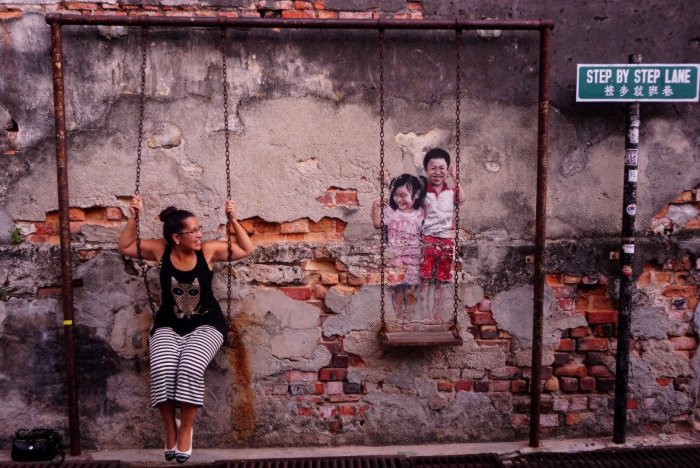 Interactive Street Art in Penang, Malaysia