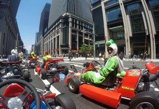 Go-karting with traffic in Tokyo Japan