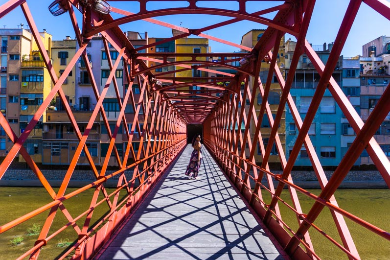 Crossing the Eiffel Bridge in Girona is a must!