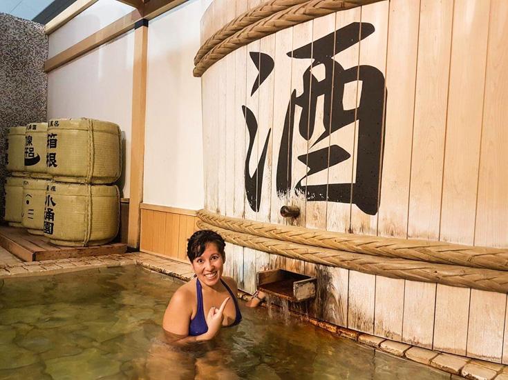 The Sake pool at Hakone Kawakien Yunessun