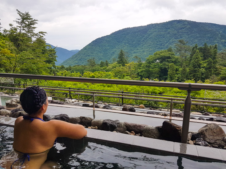 Overlooking the valley in the Yunessun's famous hot springs